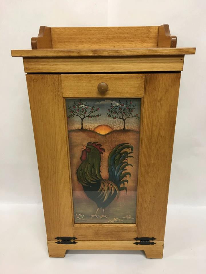 Trash Bin with Rooster Panel