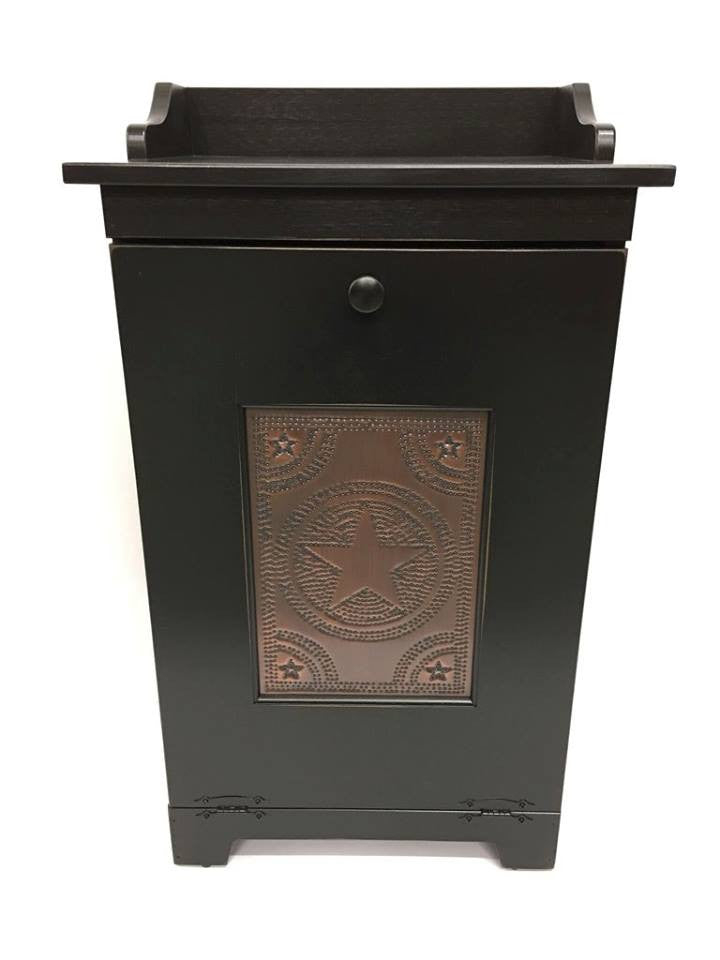 Trash Bin with 776 Star Tin Panel