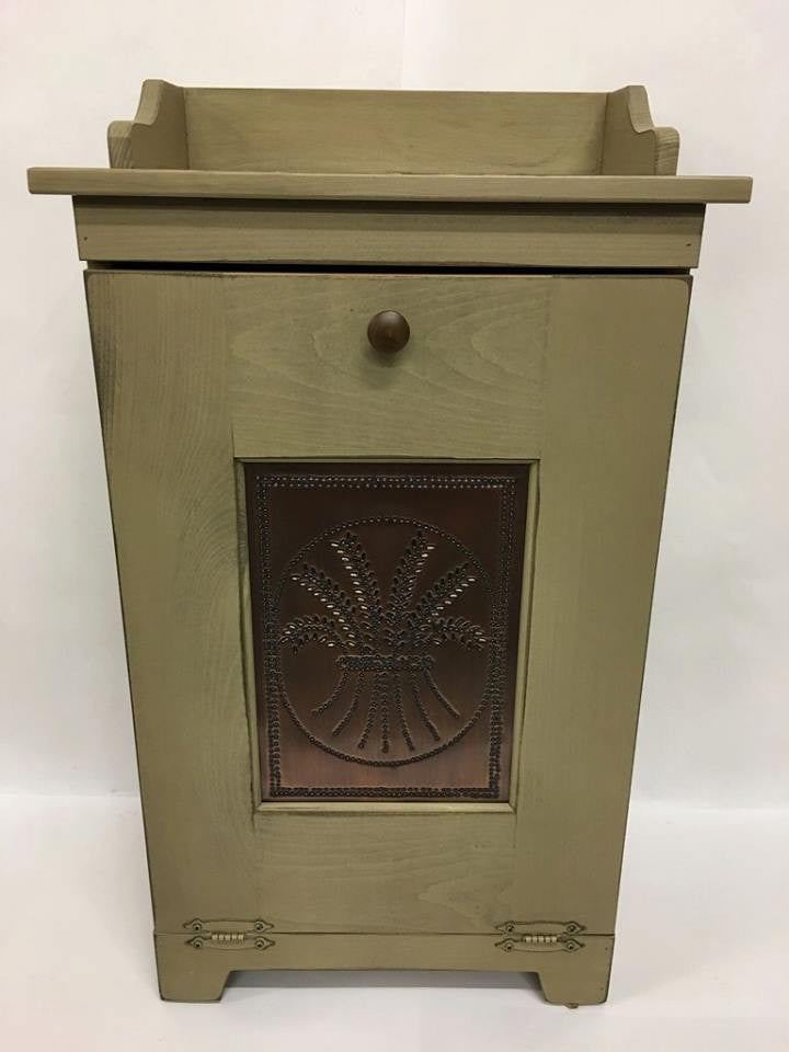 Trash Bin with Copper Wheat Tin Panel