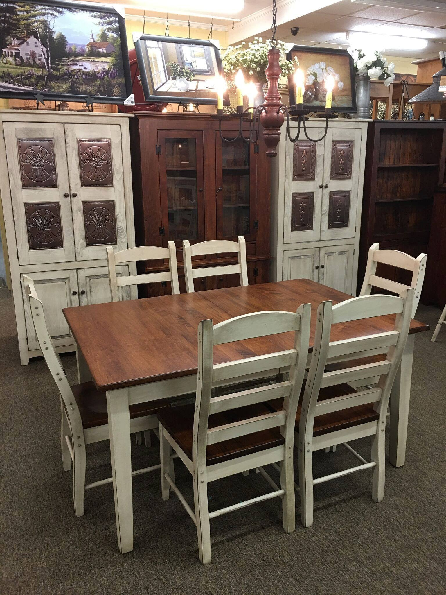 Antique White Extension Table with a Michael's Cherry Top ...