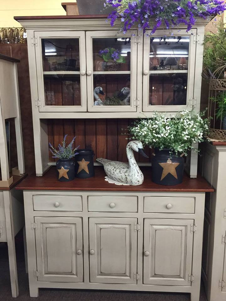 Antique White Kitchen Hutch with Michael\'s Cherry Top