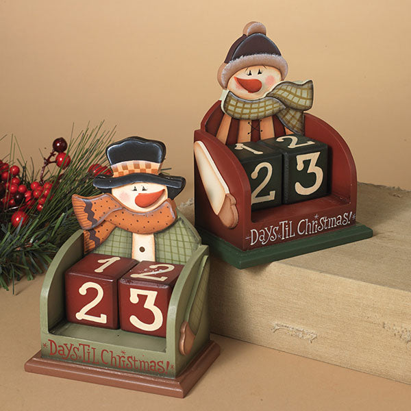 Wood Snowman Countdown Calendar - Assorted