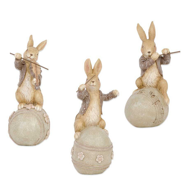 Brown Resin Musical Bunnies on Eggs (3 Styles)