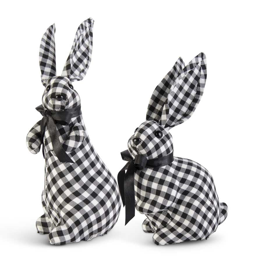 Black and White Gingham Bunnies w/Black Bows