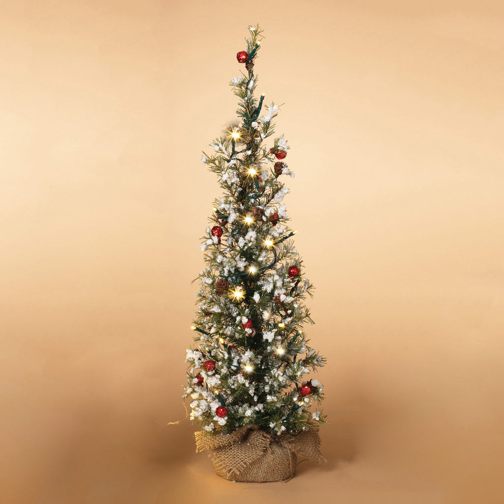 "18""H Battery Operated Lighted Snowy Pine Tree with Berries and Burlap Base"