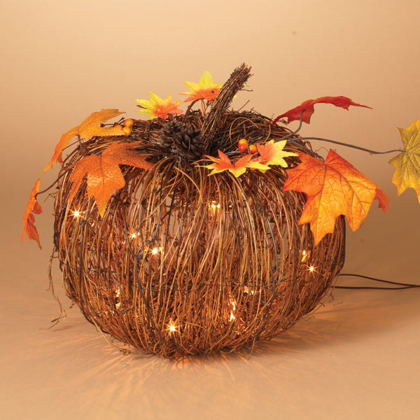 "10""H Electric Lighted Twig Pumpkin"