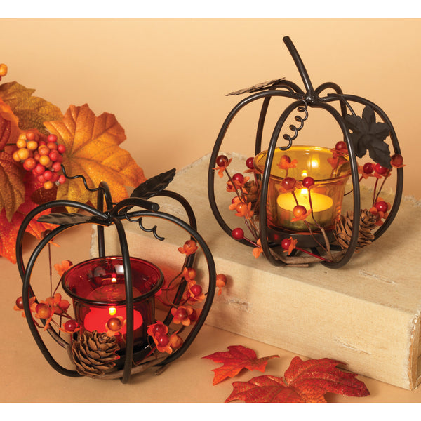 "4.5"" Metal Pumpkin with Glass Candle"