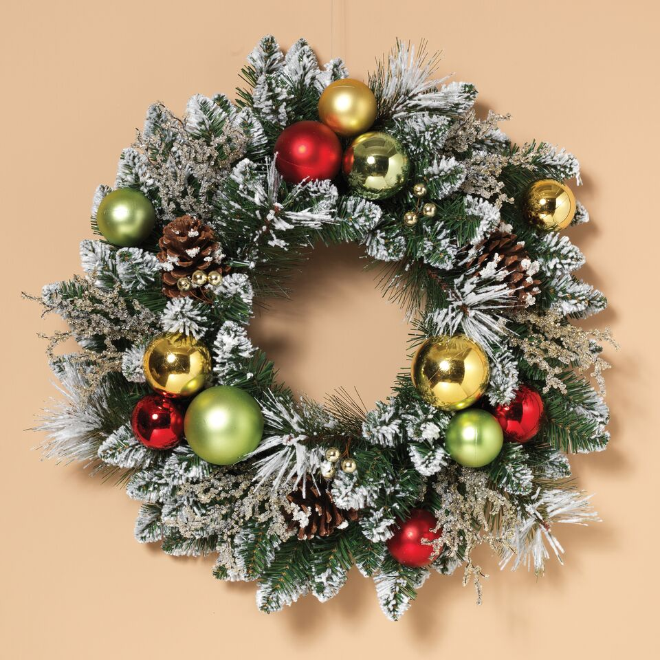 Flocked with Ice Wreath with Ornaments