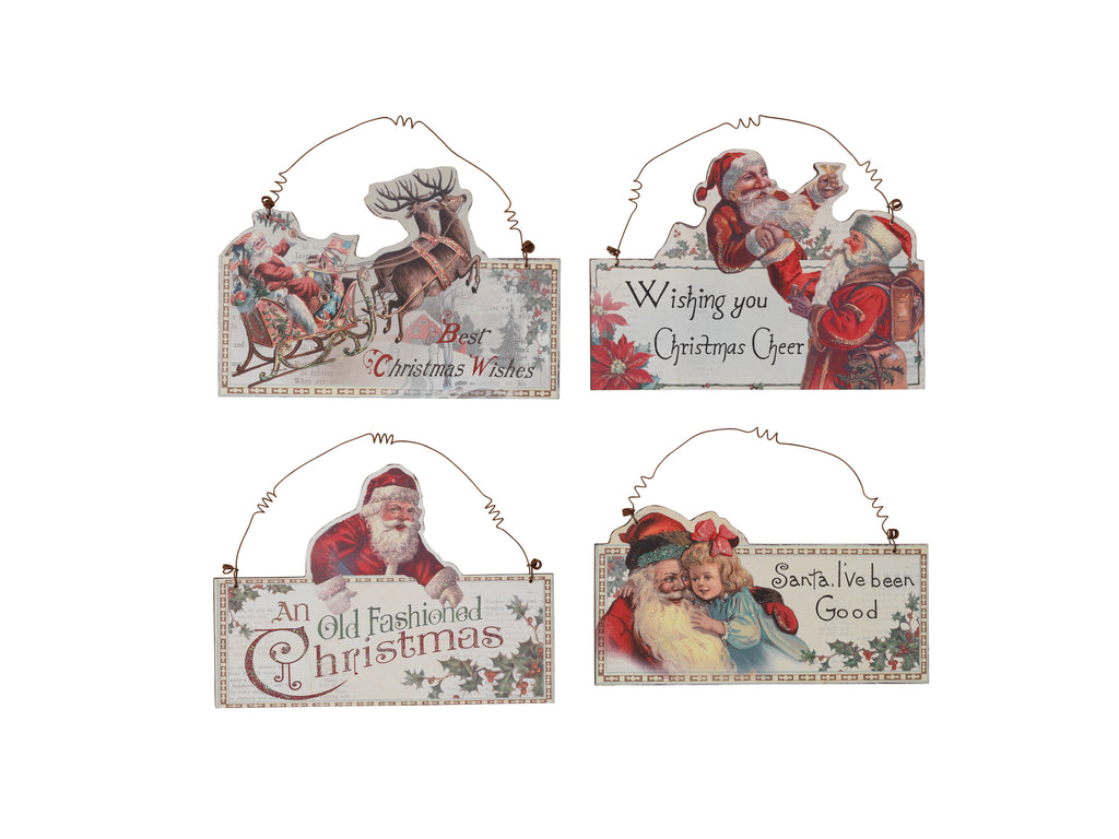Wood Vintage Holiday Santa Signs