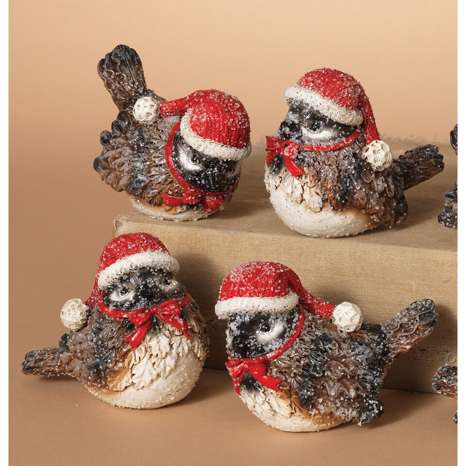 Frosted Resin Holiday Birds