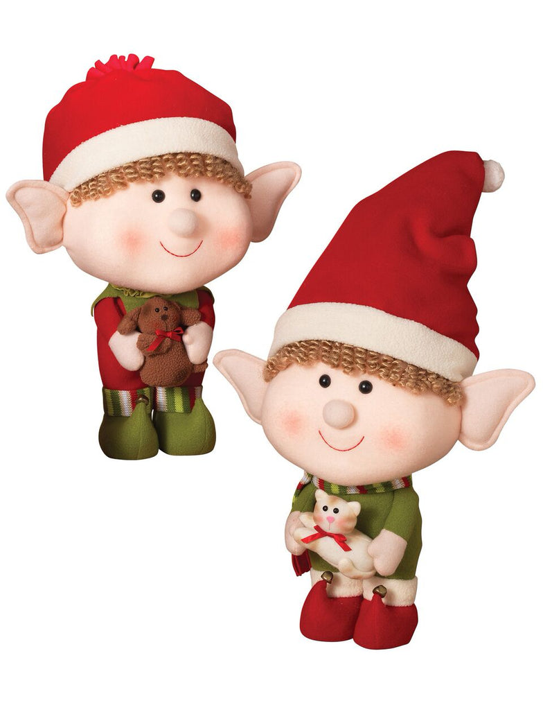 Plush Jumbo Head Elf Figurines - Asst