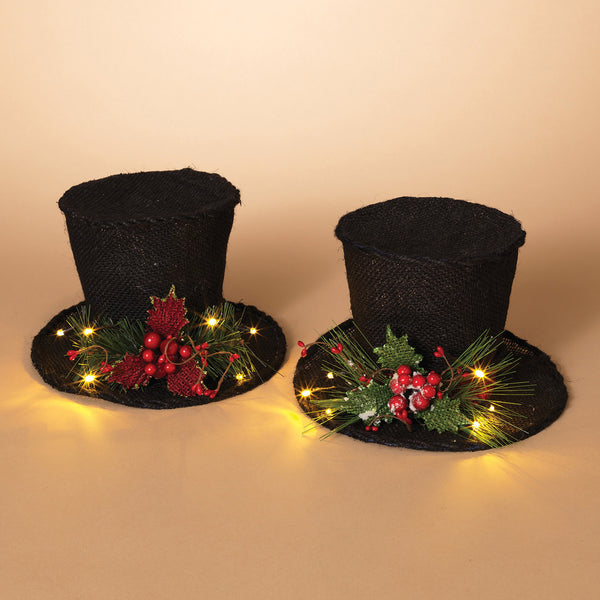 "9"" Battery Operated Lighted Black Burlap Holiday Top Hat w/PVC Accent"