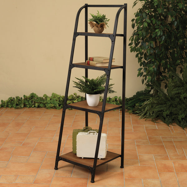 "57""H Metal and Wood 4-Tier Bookshelf"