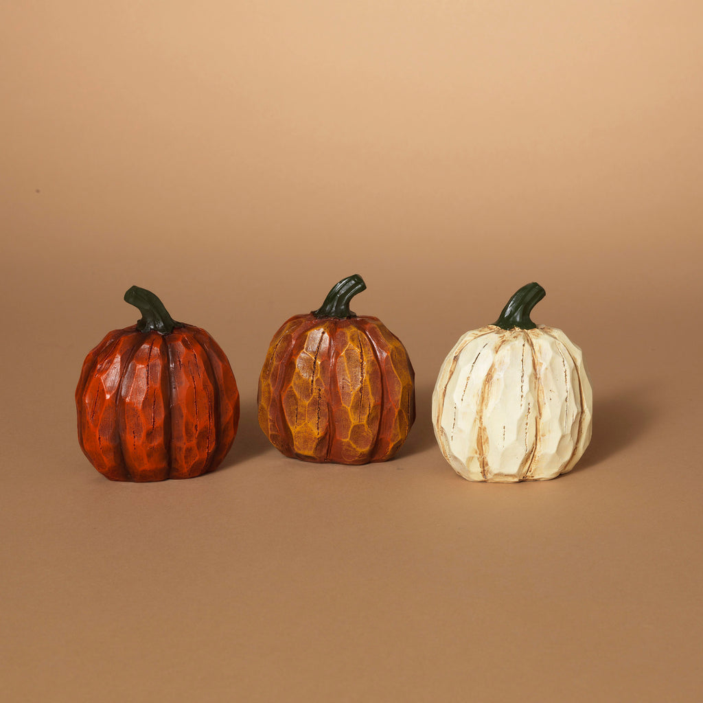 "Resin Wood Look Pumpkins 4""H"