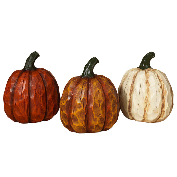 "Resin Wood Look Pumpkins 6.5""H"