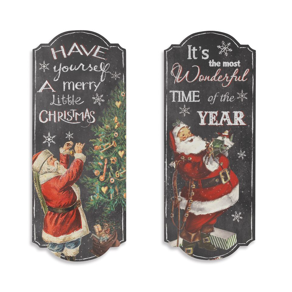 Wood Holiday Santa Wall Sign