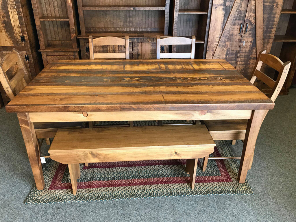 "Seely 6' Farm Table with 8/4"" Rustic Top"