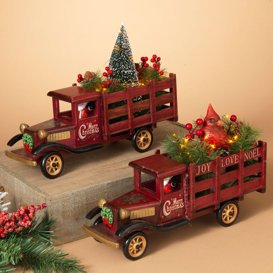 "14.5"" Battery Operated Lighted Wood Antique Truck, Assorted"