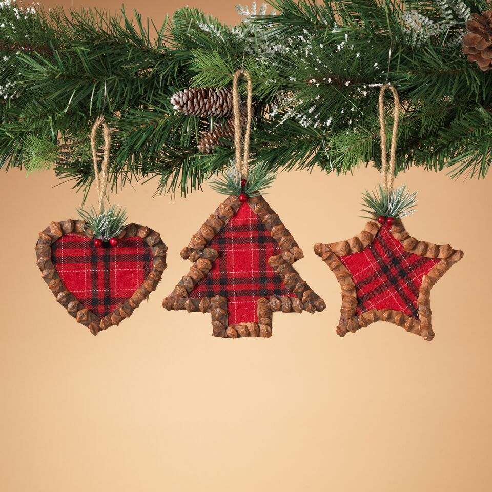 Pinecone Plaid Ornaments - Assorted
