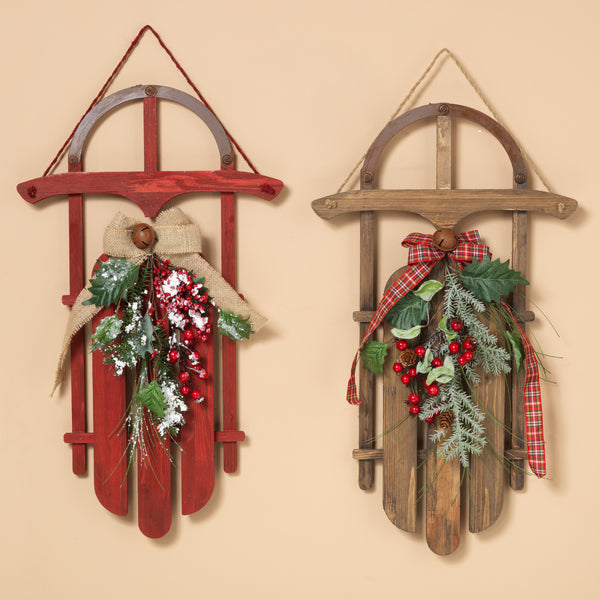 "27.5"" Wood Holiday Sleigh Assorted"