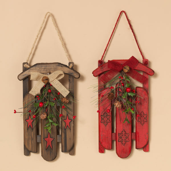 "11"" Wood Holiday Sleigh Assorted"
