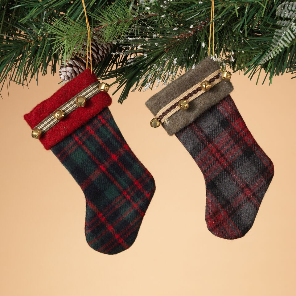 Fabric Plaid Stocking with Bells Ornaments - Assorted