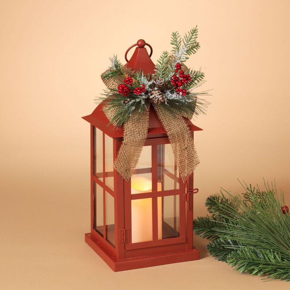 "15"" Holiday Lantern w/Burlap"