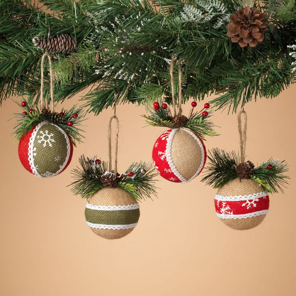 Knit Ribbon Ball Ornament - Asst