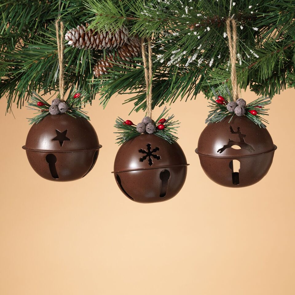 Rustic Jingle Bells Ornaments - Assorted