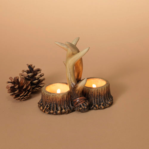 "6""H Resin Deer Antler Tealight Holder"