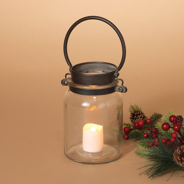 "10.2""H Metal and Glass Antique Lantern"