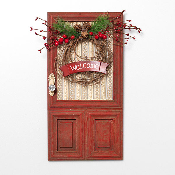 "20""H Wood Holiday ""Welcome"" Door Piece"