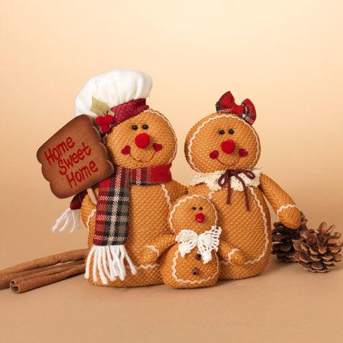"10""H Plush Holiday Gingerbread Family with Home Sweet Home Sign"