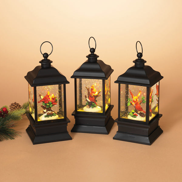 Lighted Acrylic Spinning Water Globe Lantern with Cardinal Scene