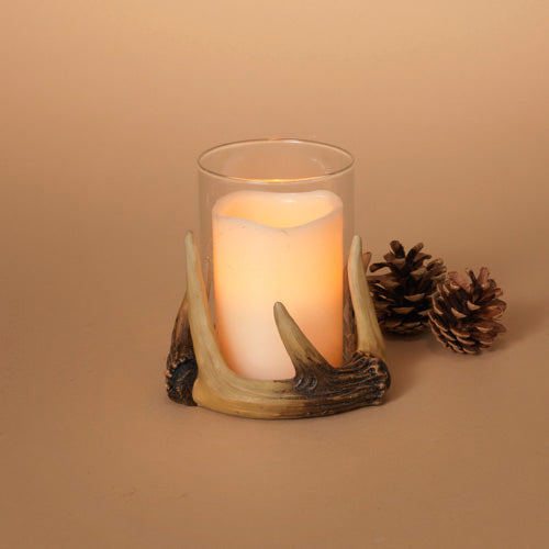 "4""D Resin Antler Candle Holder with Glass Cup"