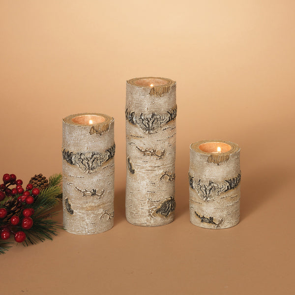 Set of 3 Resin Aspen Tealight Holders