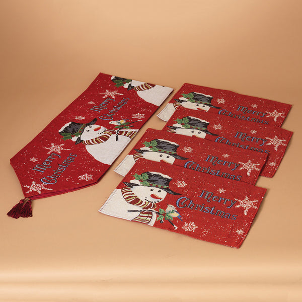 "Holiday Snowman ""Merry Christmas"" Table Runner w/4 Placemats"