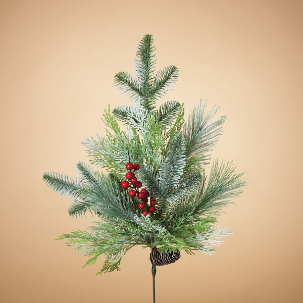 Needle Frosted Pine Spray with Pinecones, Cedar and Berries