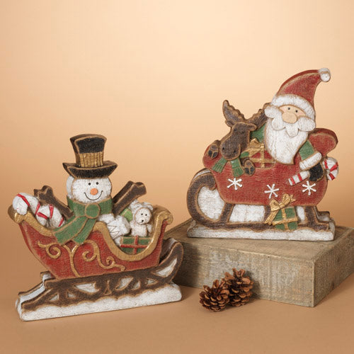 Paperstone Snowman and Santa in Sleigh with Presents -Assorted