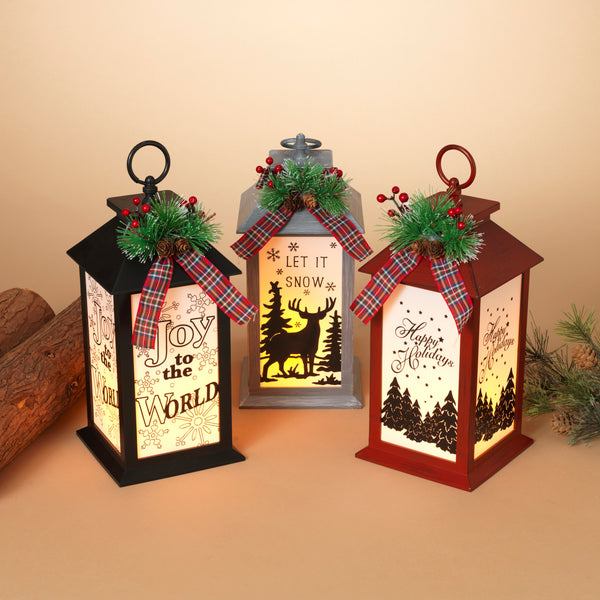 "13.4""H Battery Operated Lighted Holiday Lantern"