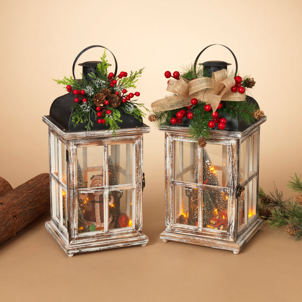 "15.25""H Battery Operated Lighted Wood Lantern with Holiday Scene"