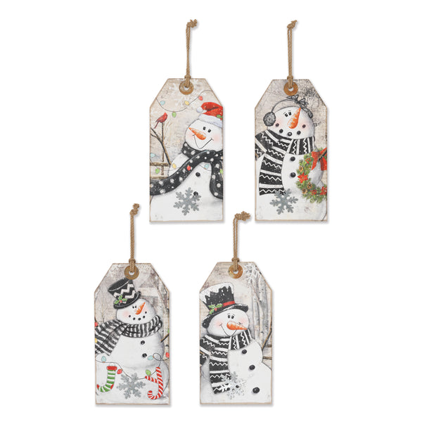 "15.75""H Wood Holiday Hanging Snowman Tags"