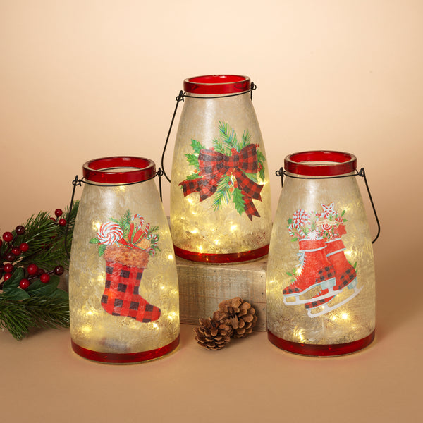 "10""H Battery Operated Lighted Glass Holiday Scene Jar with Metal Handle"