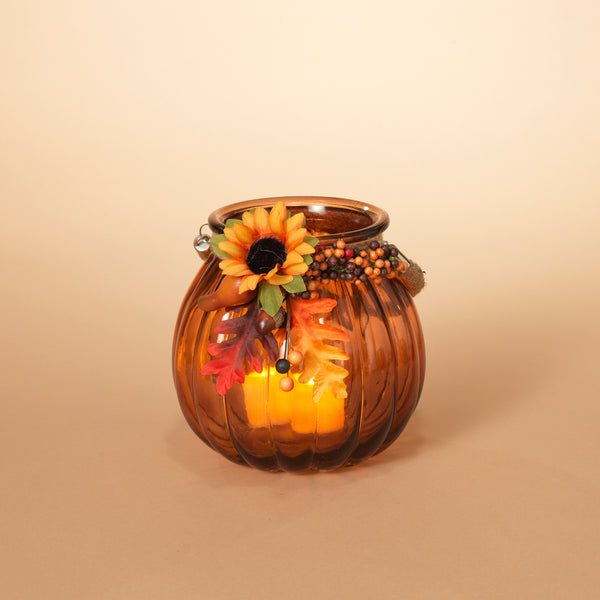 "7.1"" Harvest Glass Pumpkin"