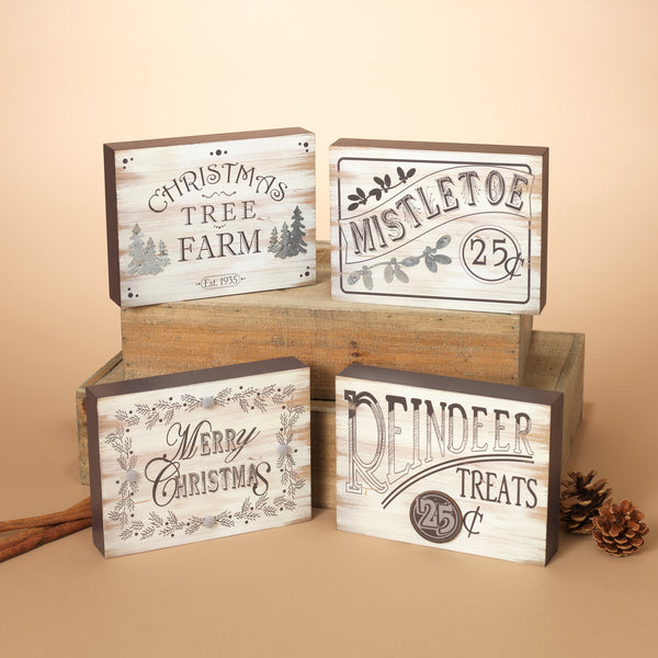"7.8""L Wood Holiday Block, 4 Assorted"