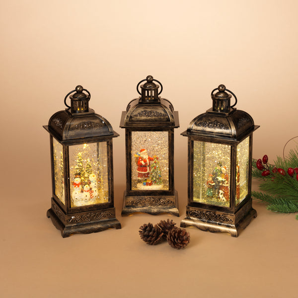 "10.5""H Battery Operated Lighted Holiday Spinning Water Globe Lantern"
