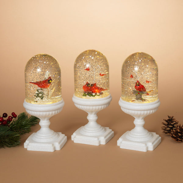 "11""H Battery Operated Lighted Musical Cardinal Scene Spinning Water Globe Cloche w/Timer"