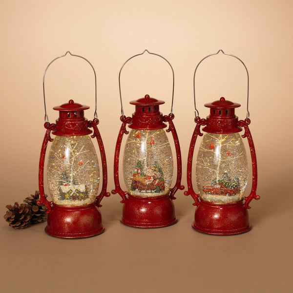 Holiday Scene Spinning Water Globe Lantern