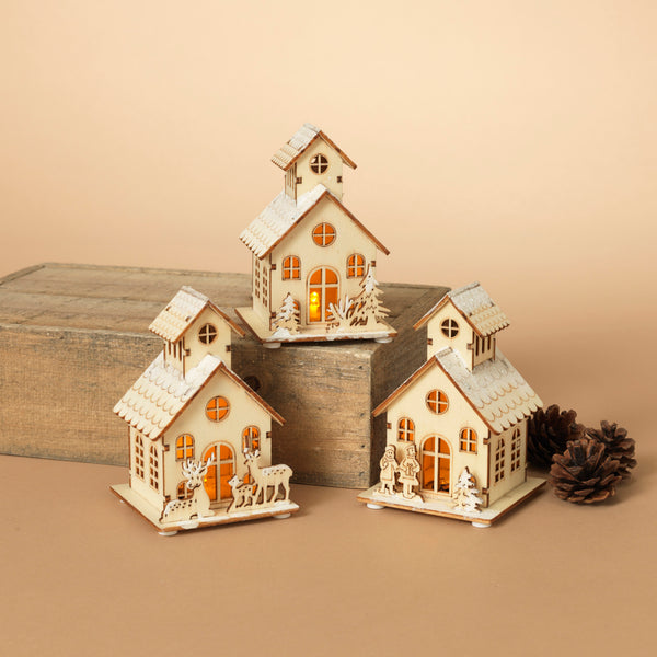 "4.7""H Lighted Laser Cut Wood House"