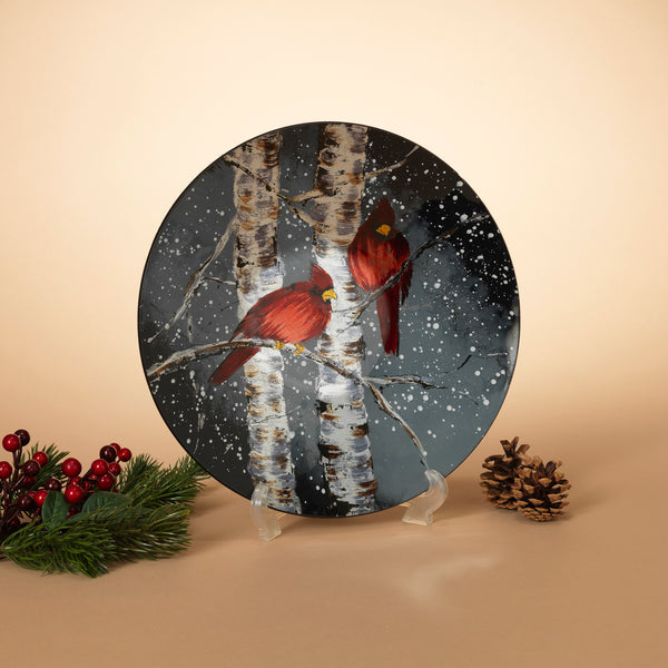"12.8""L Decorative Round Cardinal Glass Plate"